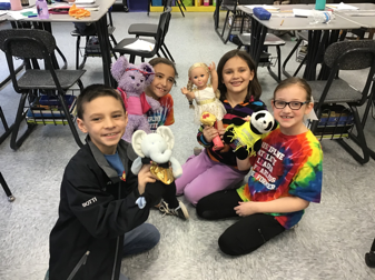 children with stuffed animals