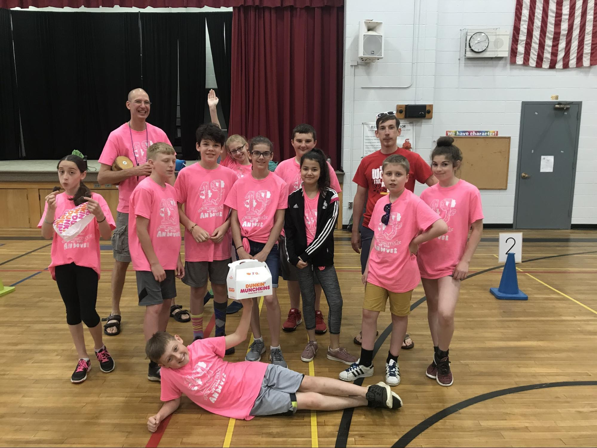Sixth graders in gym for field day