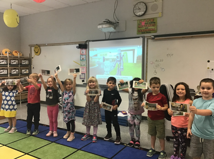kindergarten students in tech class