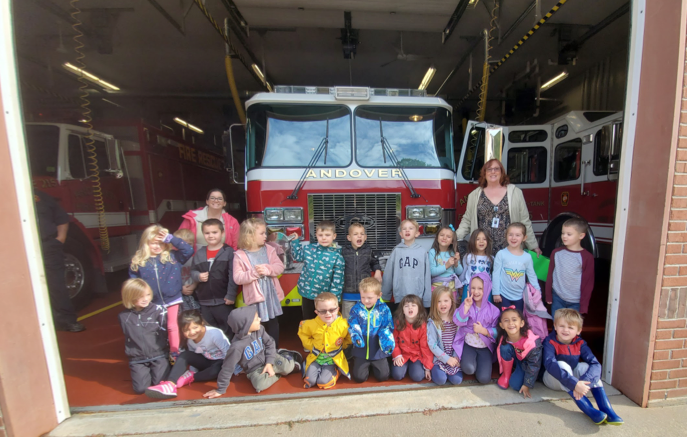 students with firetruck