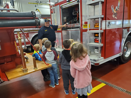 students learning about fire trucks
